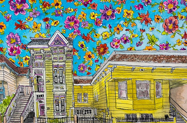 San Francisco Houses #21. Watercolor and ink on paper. Art by Eric Dyer