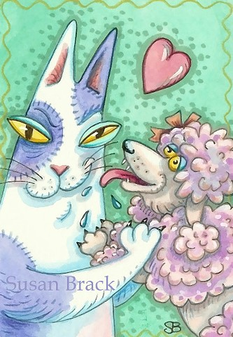 Hiss N' Fitz Cat Kitten French Poodle Pet Dog Susan Brack Art Feline HumorCartoon EBSQ