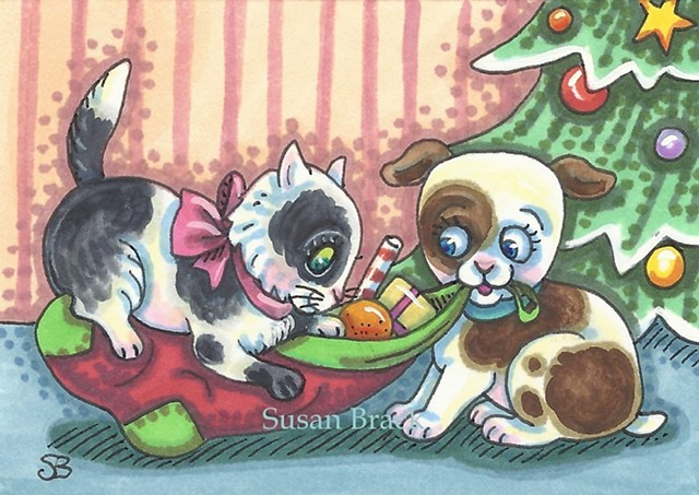 Christmas Kitten Puppy Dog Cat Pets Susan Brack Illustration Art ACEO EBSQ