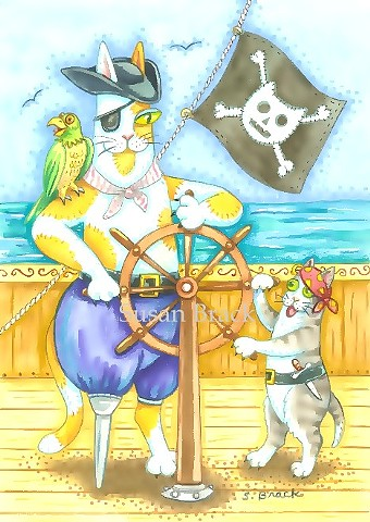 Hiss N' Fitz Cat Kitten Pirate Ship Boat Susan Brack Art Illustration Feline EBSQ Humor