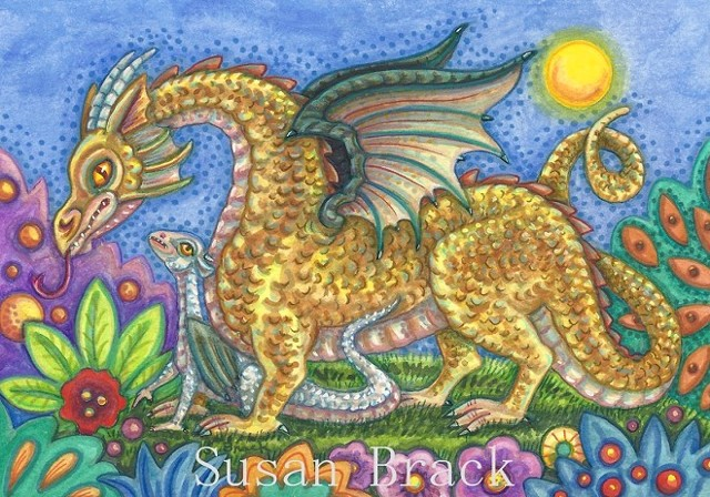 Baby Dragon Fantasy Medieval Susan Brack Folk Art Illustration Licensing