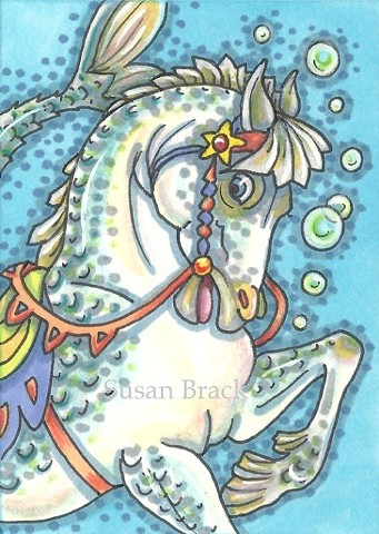 Carousel Horse Merhorse Seahorse Fantasy Susan Brack Art Illustration License