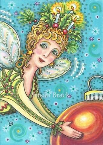 Christmas Fairy Faerie Sprite Fantasy Ornament Holiday Susan Brack Art EBSQ Whimsy