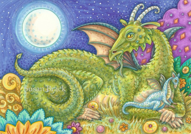 Baby Blue Dragon Family Next Generation Fantasy Medieval Susan Brack Folk Art Illustration Licensing