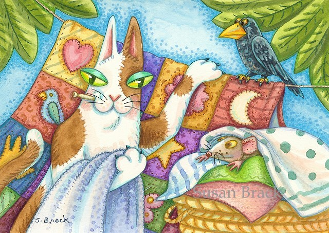 Hiss N Fitz Cat Feline Laundry Basket Quilts Crow Black Bird Rat Susan Brack Art Licensing