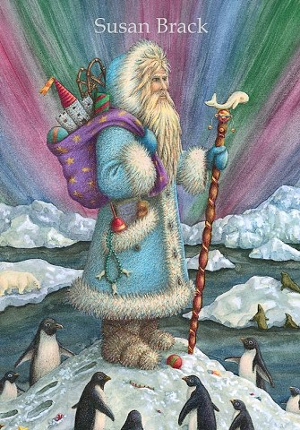 Santa Father Christmas Belsnickle Northern Lights Penguin Susan Brack Art North Pole