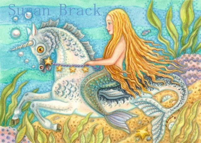 Mermaid Sea Horse Seahorse Siren Girl Unicorn Fantasy Susan Brack Art License