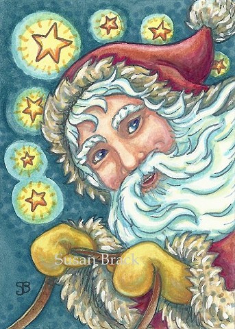 Christmas Santa Belsnickle St. Nick Holiday Susan Brack Folk Art EBSQ Portrait