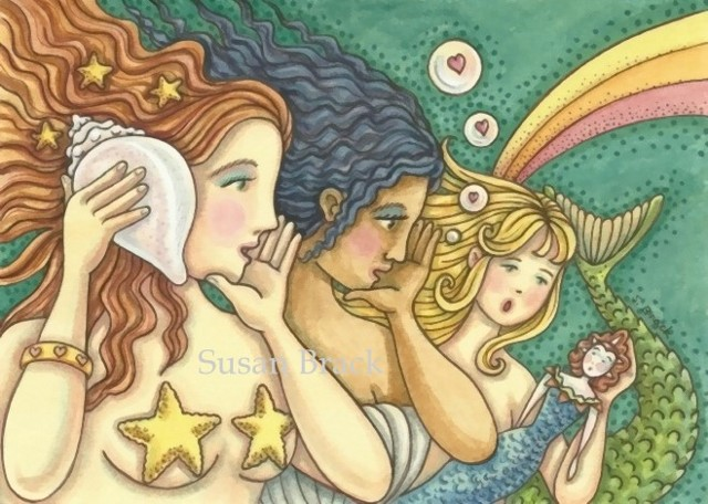 Mermaids Women Siren Girl Doll Secret Wisdom Fantasy Susan Brack Art Illustration License