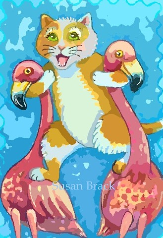 Pink Flamingo Birds Cat Kitten Stilts Humor Susan Brack Art Illustration Licensing