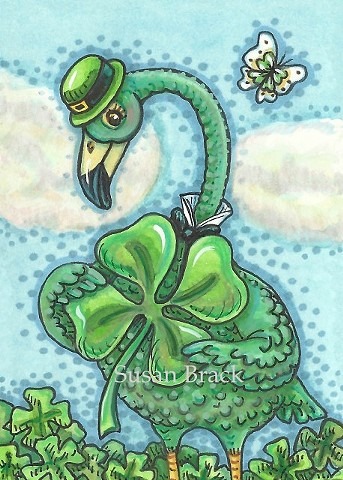 Irish Green Flamingo Bird St. Patricks Day Shamrock Susan Brack Art Illustration License