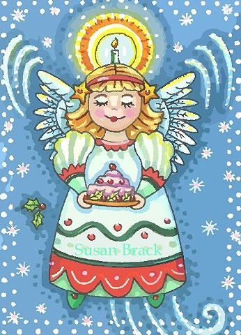 Christmas Angel Pudding Halo Holiday Susan Brack Folk Art Illustration Whimsy