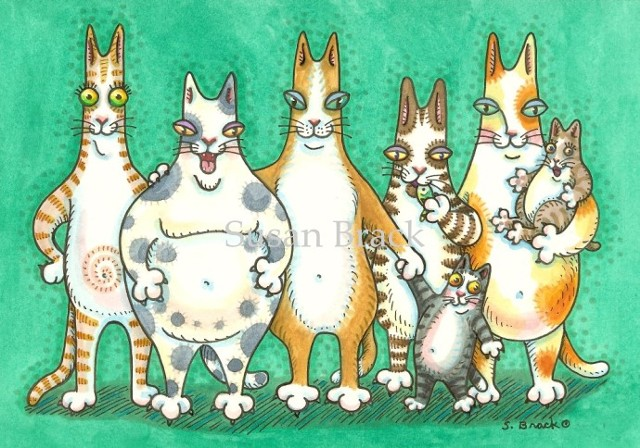 Hiss N' Fitz Cat Kitten Group Portrait Susan Brack Art Feline Humor EBSQ License Cartoon