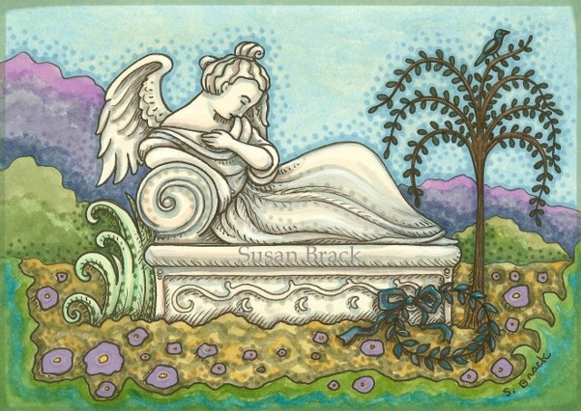 Cemetery Mourning Reclining Woman Angel Crypt Monument Grave Susan Brack Art Illustration
