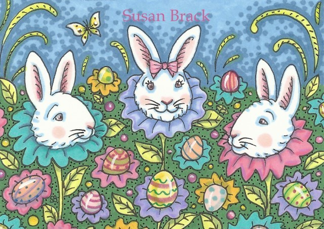 Easter Eggs Bunny Rabbit Spring Hare Susan Brack Art License Holiday