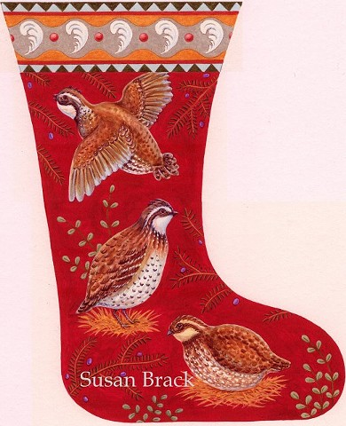 Quail Bob White Pheasant Partridge Christmas Stocking Susan Brack Art Design License