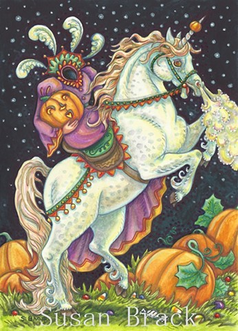 Sleepy Hollow Sidesaddle Headless Horsewoman Unicorn Susan Brack Halloween Art License