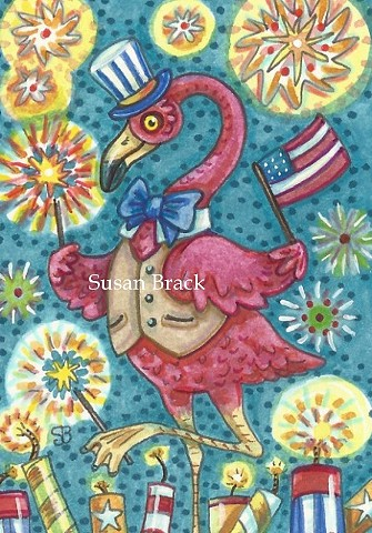 Pink Flamingo Bird Americana 4th Of July Holiday Flag Susan Brack Art Illustration License