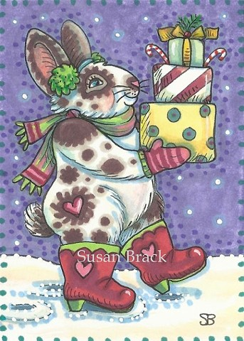 Christmas Gifts Bunny Rabbit Hare Holiday Humor Susan Brack Art Illustration EBSQ