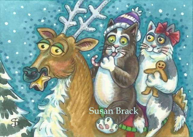 Hiss N' Fitz Cat Kitten Christmas Reindeer Ride Susan Brack Art Feline Humor EBSQ License