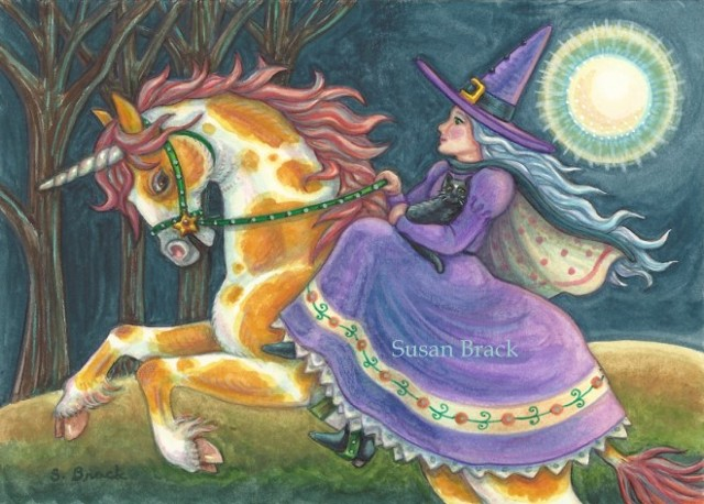 Witch Black Cat Sidesaddle Pinto Pony Horse Rider Susan Brack Halloween Art ACEO EBSQ