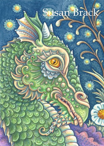 Dragon Portrait Scales Medieval Fantasy Susan Brack Original Art Illustration