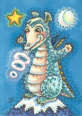 Baby Dragon Medieval Smoke Rings Susan Brack Art Artist Fantasy Humor Cartoon EBSQ