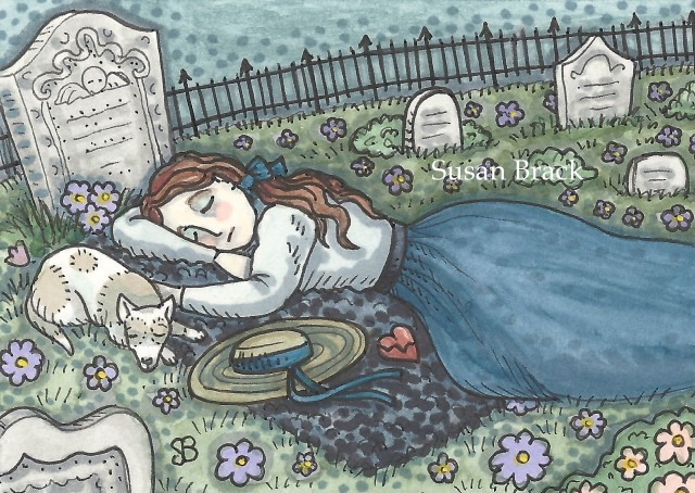 Cemetery Mourning Grave Girl Dog Tombstone Headstone Weeping Susan Brack Art Ink