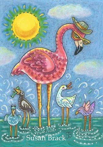 Pink Flamingo Birds Of A Feather Beach Susan Brack Art Illustration License