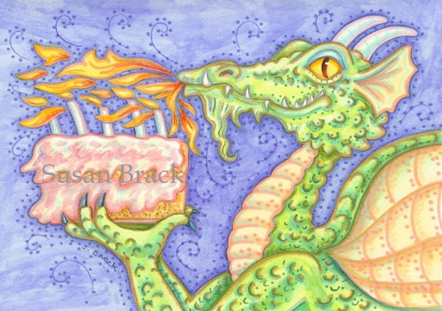 Dragon Birthday Cake Candles Medieval Susan Brack Art Artist Fantasy Humor Cartoon EBSQ