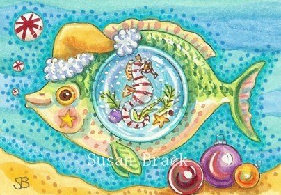 Christmas Fish Seahorse Bubbles Whimsical Candy Canes Sea Susan Brack Holiday art
