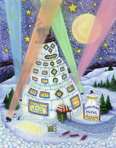 Snowman Snow Hotel Northern Lights Christmas Susan Brack Holiday Art Humor License
