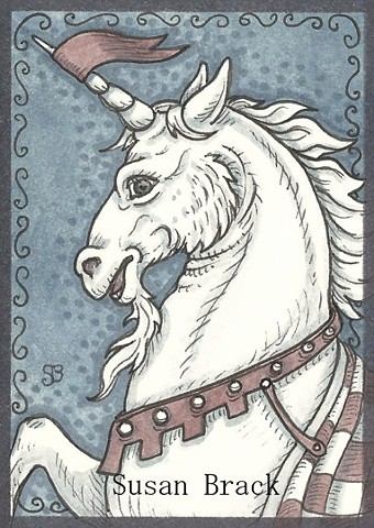 Unicorn Steed Stallion Medieval Fantasy Horse Ink Susan Brack Art