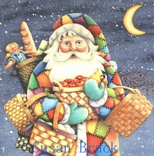 Santa St. Nick Belsnickle Baskets Christmas Folk Art Crazy Quilt Susan Brack