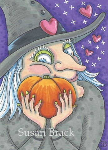 Witch Hag Favorite Pumpkin Jack O Lantern Halloween Holiday Susan Brack Art License
