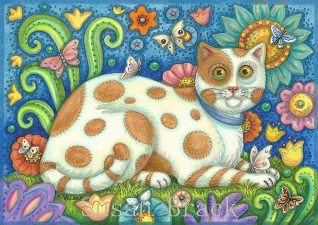Folk Art Cat Kitten Feline Portrait Garden Susan Brack Pussycat Flowers Licenses