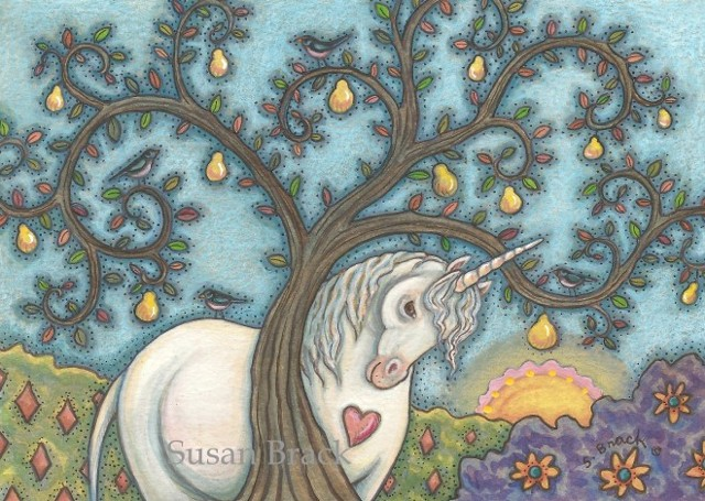 Unicorn Under Pear Tree Horse Fantasy Susan Brack Folk Art illustration License