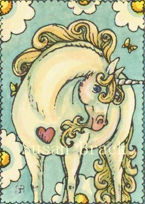 Unicorn Pony Fantasy Horse Whimsical Susan Brack Original Art Artist License