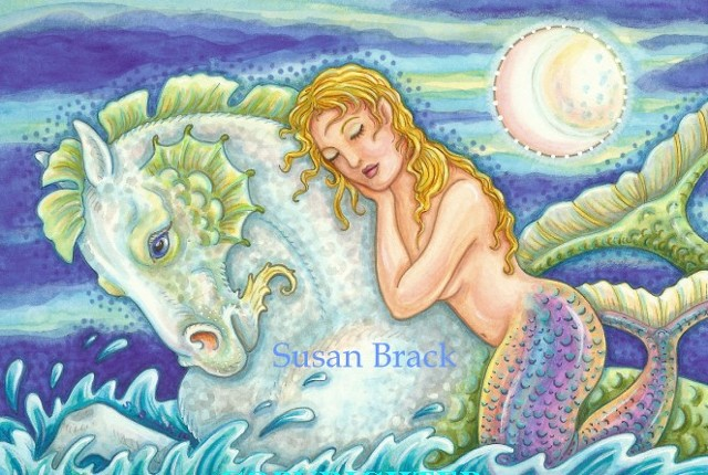 Mermaid Sea Horse Merhorse Siren Woman Seahorse Fantasy Susan Brack Art License