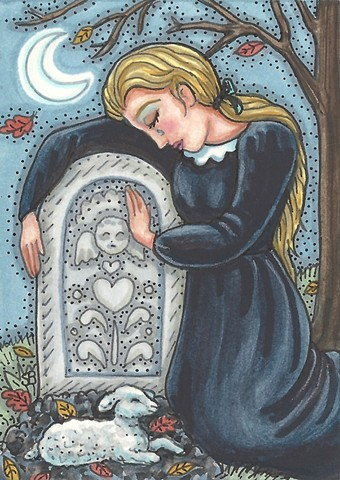 Mourning Cemetery Grave Plot Child Lamb Angel Woman Mother Grief Susan Brack Art