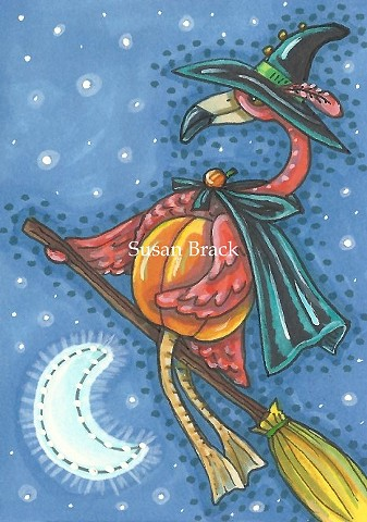 Pink Flamingo Halloween Witch Bird Broom Holiday Susan Brack Art Illustration License