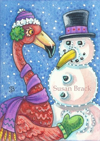 Snowman Pink Flamingo Christmas Snow Snowball Bird Susan Brack Art Illustration