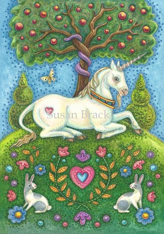 Unicorn Land Of Eden Fantasy Horse Medieval Susan Brack Original Art Artist Licensing
