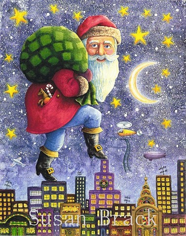 Santa St. Nick Belsnickle Father Christmas City Folk Art Fantasy Susan Brack Art