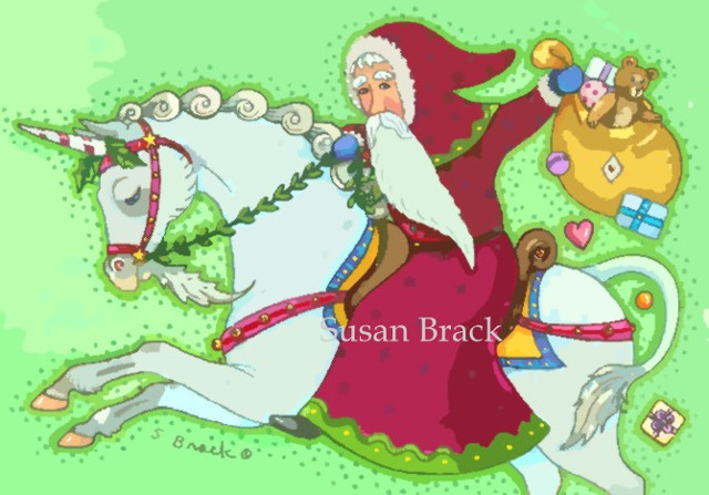 Christmas Unicorn Santa Belsnickle St. Nick Holiday Horse Susan Brack Folk Art EBSQ
