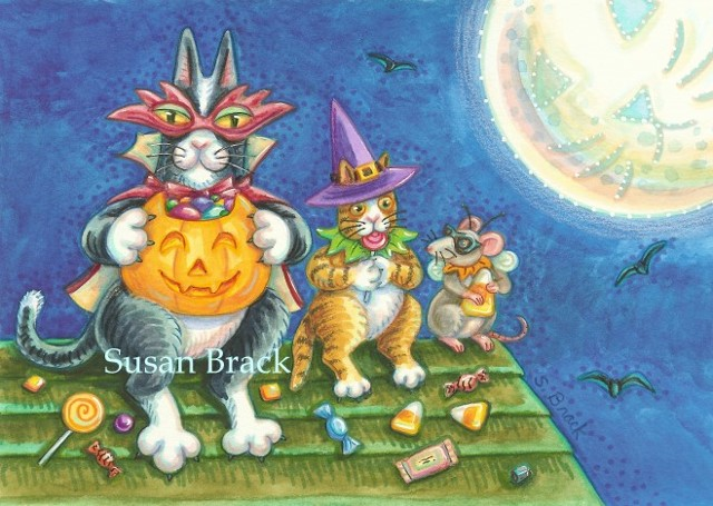 Hiss N' Fitz Cat Kitten Trick Or Treat Candy Halloween Costume Susan Brack Art EBSQ