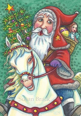 Santa Claus Belsnickle Father Christmas Jingle Bells White Horse Susan Brack Art