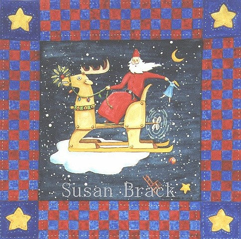 Christmas Folk Art Reindeer Sled Santa Starry Night Susan Brack Humor License