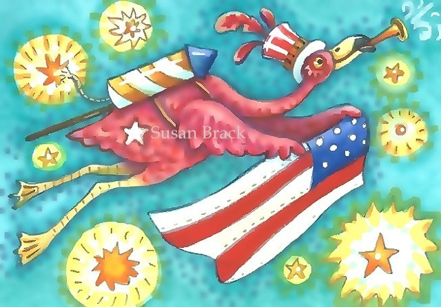 Pink Flamingo Bird Patriotic American Flag Holiday Susan Brack Art Illustration License