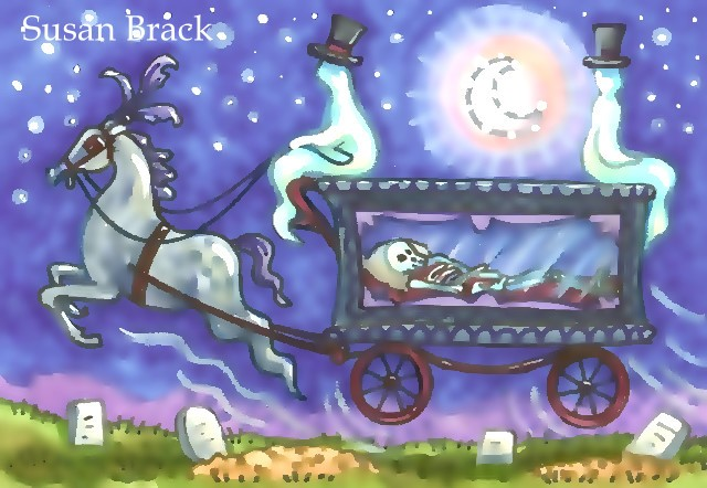 Ghosts Horse Drawn Hearst Skeleton Soul Cemetery Spooky Halloween Susan Brack Art